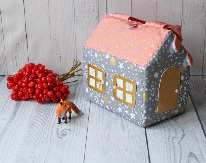 Small Fabric Dollhouse Kit Modern dollhouse Doll House Bag for girl Bag house Gift for girl
