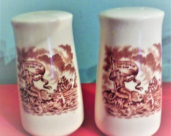 Alfred Meakin Fair Winds Brown Salt and Pepper Shakers.  Don't Give Up The Ship