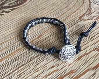 Beaded bracelet, leather bracelet, beaded leather bracelet