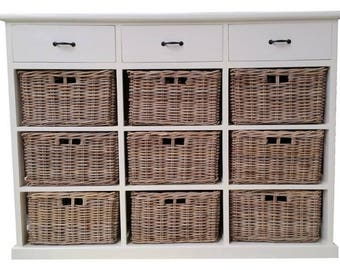 Rattan Storage Chest with 9 Baskets and 3 Drawers - White / Kubu Grey