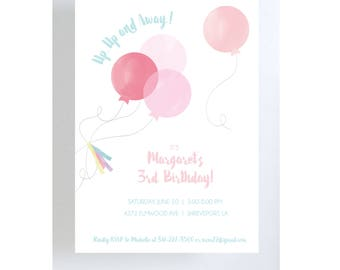 Pink Balloons Invitation/Birthday Party/Baby Shower