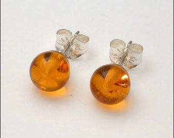 Amber 4mm Round Studs Earrings - Sterling Silver
