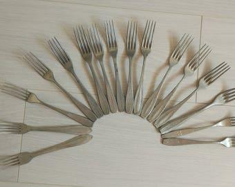 Soviet forks,vintage forks,ussr forks,soviet vintage,steel forks,old dinnerware,vintage kitchen,soviet kitchen,soviet cutlery,made in ussr