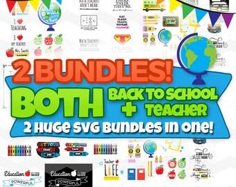 Back to School SVG Bundle & Teacher SVG Bundle: School Chalkboard Signs, DXF, Silhouette Cameo, Cricut Explore Cut Files, Education