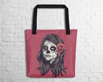 Day Of The Dead Tote Bag Halloween Tote Bag Artistic Tote Bag Stylish Tote School Tote Work Tote Shopping Tote Witty Novelty