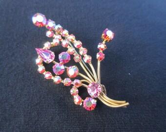 Vintage Sparkling Aurora Borealis Rhinestone Brooch in Pretty Pinks