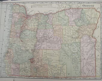1914- Oregon Antique Map- Lovely 103 year old, vintage map of Oregon- Home Décor