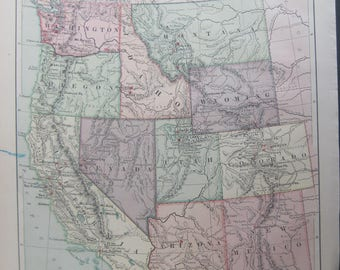1882- Antique Western and Highland States Harper's Map- Lovely 135 year old, vintage map of Western & Highland States