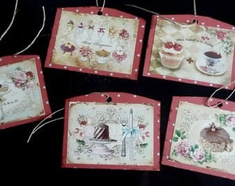 5 vintage pastry themed labels