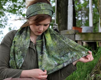 Deep forest Hand dyed Linen scarf.