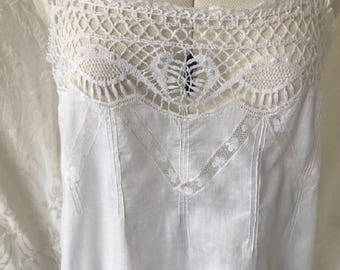 Vintage Antique late Victorian/ Edwardian 100% cotton sleeveless chemise. Late 19th/ early 20th Century #20