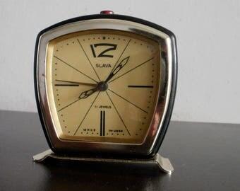 Vintage Slava alarm clock mechanical soviet ussr