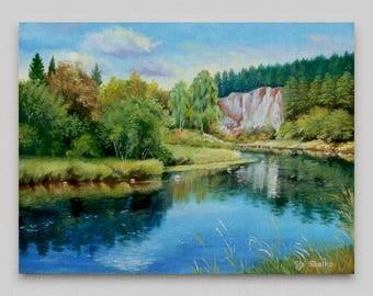 Oil painting Landscape painting Original Wall art Realism Canvas art Wall decor Artwork Home decor