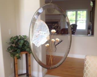 Vintage Pressed Flower Suncatcher, Leaded Glass, Beveled Glass