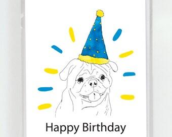Pug Dog Birthday Greeting Card