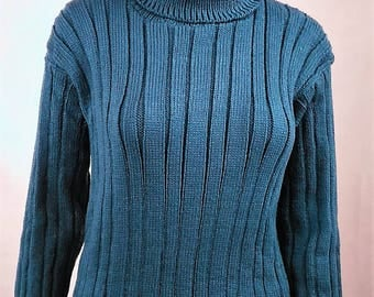 Sweater-women-size 38 - collar rolled wool is hand-made in France-color blue-knit warm-0038