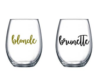 Blonde and Brunette Best Friend Wine Glasses