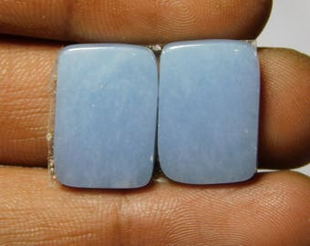 Pair Blue Angelite gemstone Cabochons Very Gorgeous looking Excellent Quality Natural handmade Angelite Top quality 22.75cts, (18x12x3)mm