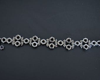 Hex nuts bracelet, stainless steel, welding, hand made
