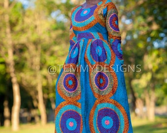 Blue African maxi dress with pockets for women , African clothing, women dress, African dress , Ankara dress , women clothing, Blue