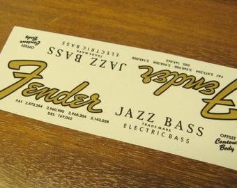 Fender Jazz Bass Headstock Decal Set 1962 - 1967 Waterslide Decals Vintage Guitar Parts