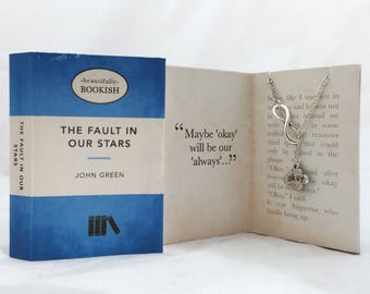 The Fault in Our Stars necklace. Booklover gift.
