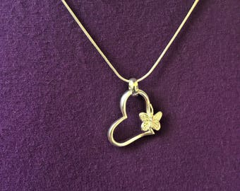 Heart/butterfly/silver plated/necklace