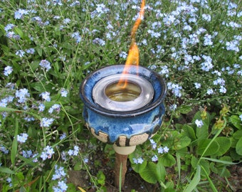 Fire Bowl for bioethanol, fire pot, Garden fire ceramic, approx. 13 x 13 cm, with 200 ml safety burner paste