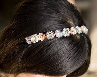 Golden Wedding Floral Beaded Motifs Woven Hairband Handband