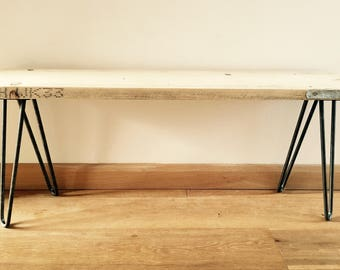 Rustic handmade scaffold board wood bench with industrial style steel hairpin legs