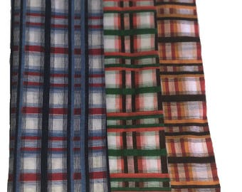Plaid Hankies/Bandanna/Scarf 21X21''