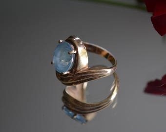 10k yellow gold Blue Topaz Statement Ring
