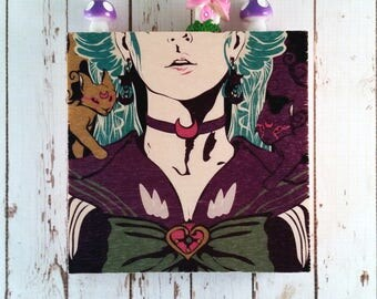 Large Vogue Sailor Guardian Wood Block Art || Sustainable Wood || Ready to Hang Gift ||