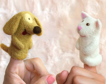 Two Finger Puppets, Dog Puppet, Cat Puppet,  Educational Toy Cat Finger Puppet, Felt Puppet Animal Finger puppet, Finger Theatre