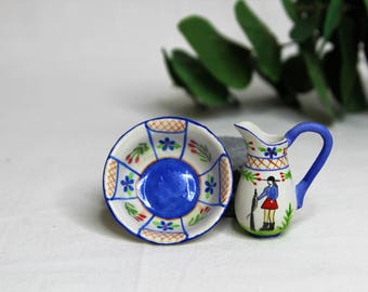Dollhouse Miniature Pitcher and Bowl, Semi Matte Finish Porcelain, Hand Painted with Lady Design, Vintage Style