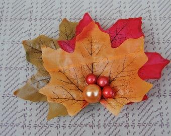 Autumn Leaf Pin Up Style Hair Accessory// Fall Rockabilly Hair Clip