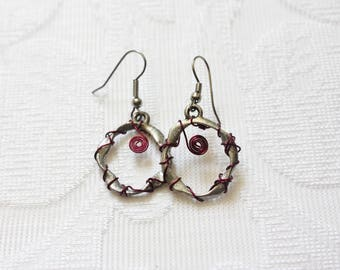 Silver and Maroon Wire Wrapped Dangling Earrings