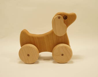Wooden animals on wheels - Wooden Toys - wooden dog