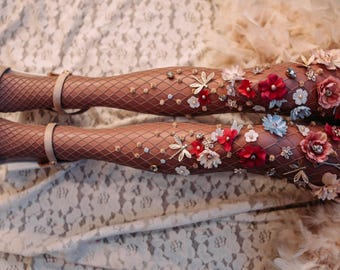 Tights with flowers