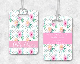 Personalized luggage tag, Personalized bag tag, Luggage tag, Floral bag tag, Diaper bag tag, ID bag tag, Heavy duty double-sided bag tag