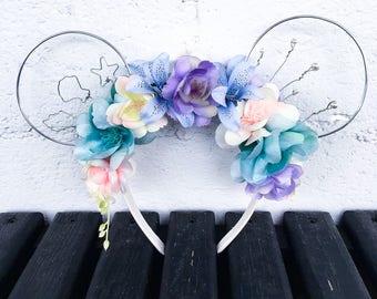 Mermaid Lagoon Inspired Minnie Floral Ears