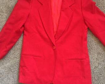 Vintage Red Miss Pendleton Blazer Size 8 100% Wool