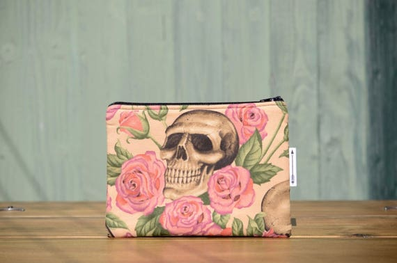Skulls and roses zipped pouch