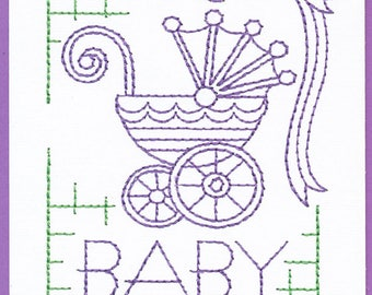 Purple and Green Baby Greeting Card