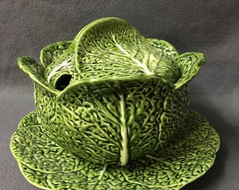 Vintage Large Green Cabbage Soup Tureen And Presentation Platter Cabbage Leaf Soup Serving Dish Made In Portugal