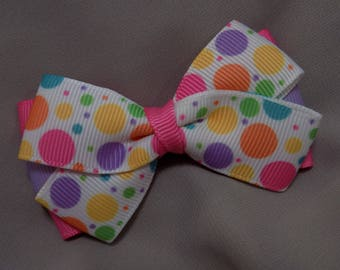 Polka Dot Hair Bow - Girl's hair bow, Hair bow for girl, Girl's hair accessory, Pastel hair bow