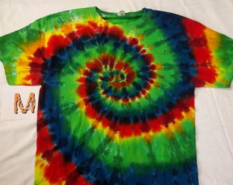 M Rainbow Spiral Tie Dye Shirt