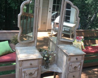 victorian vanity,shabby chic, farmhouse furniture