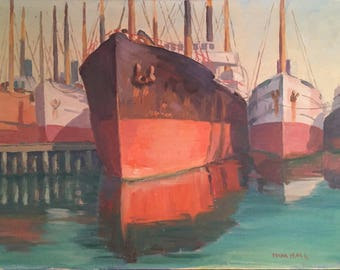Vintage Paintings of Boats in Harbor/ Original Signed Oil Painting of Ships / Vintage Nautical Decor Painting
