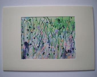 Cottage garden border, Original encaustic wax art greetings card